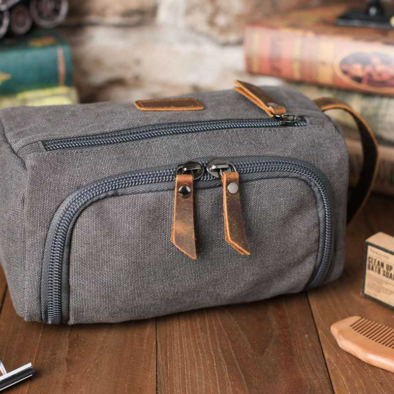 Groomsmen Gifts - Toiletry Bag, Dopp Kit, Brown Leather and Gray Canvas with Flip Top Open, Best Man, Groomsman, Wedding Gift,Christmas gift - icambag