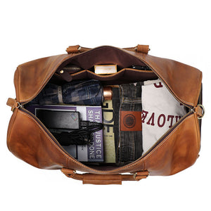Personalized Birthday Gift Simple Vintage Leather Duffle Bag With Shoe Compartment Good Travel Bag - icambag