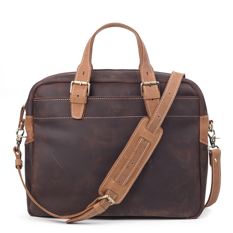 Men's Leather Handbag Women's Cross-Body Bag Large Capacity Crazy Horse Leather Computer Bag