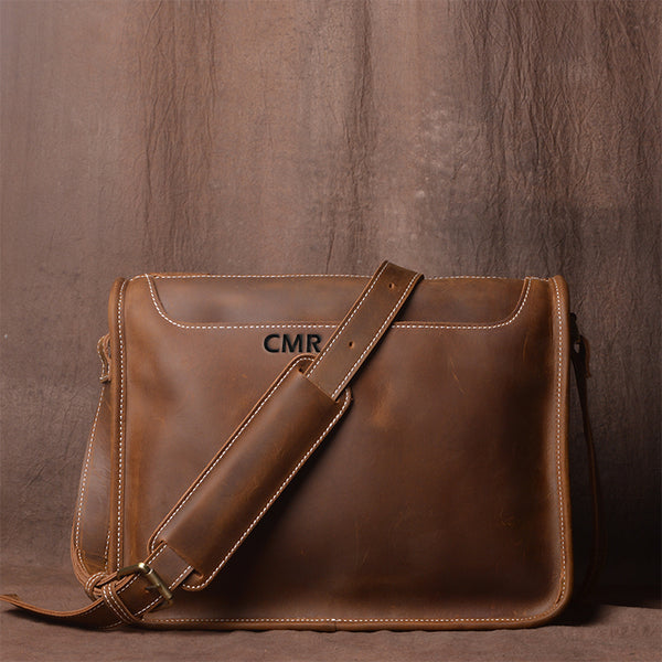 Handmade Casual Vintage Crazy Horse Skin Single Shoulder Bag Simple Leather Messenger Bag Cross Body Bag - icambag