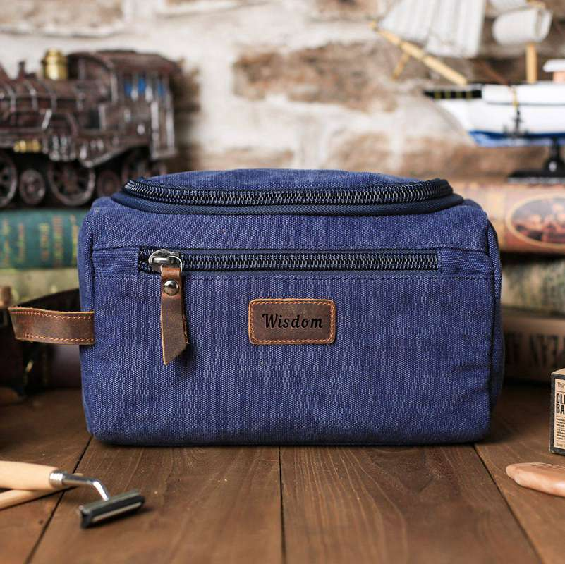 Personalized Groomsmen Gift, Dopp Kit Bag Customized Canvas Toiletry Bag Monogram Mens Toiletry Bag - icambag
