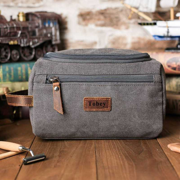 Groomsmen Gifts - Toiletry Bag, Dopp Kit, Brown Leather and Gray Canvas with Flip Top Open, Best Man, Groomsman, Wedding Gift,Christmas gift