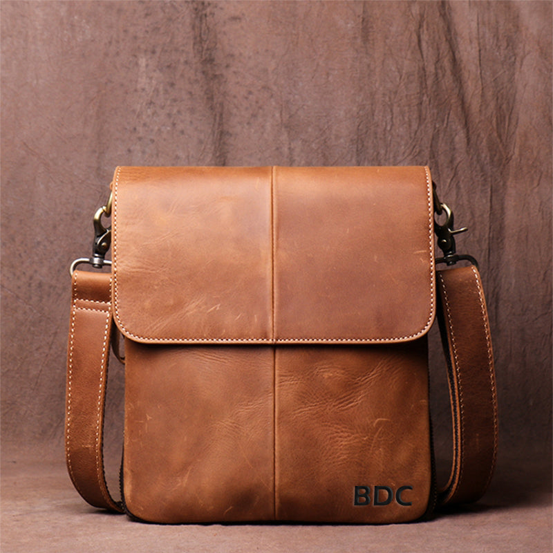Men's Leather Handmade Retro Leather Bag Casual Leather Single Shoulder Bag Simple Cross Body bag Message Bag - icambag