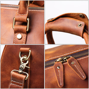 Personalized Birthday Gift Simple Vintage Leather Duffle Bag Good Travel Bag - icambag