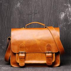 Crazy Horse Leather Vintage Postman Bag With Leather Documentation Bag Head Leather Cross Body Bag For Men - icambag