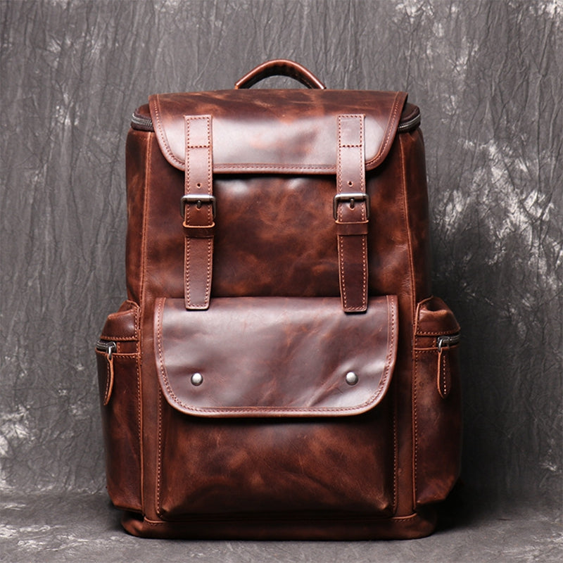Leather Handmade Backpack School Backpacks,Travel Backpack,Vintage Shoulder Bag - icambag