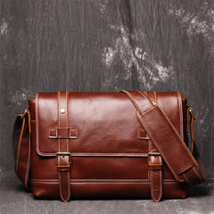 Men's Vintage Mad Horse Leather Single Shoulder Bag With Large Capacity Postman Bag,Leather Cross Body Bag - icambag