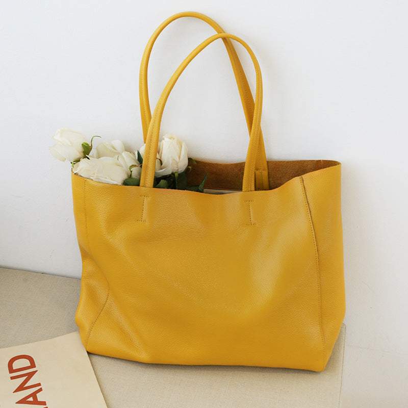 Handmade Leather Big Large Tote Bag Leather Women's Shopping Bag Christmas Gift