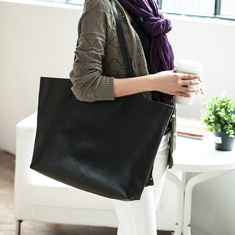 Handmade Modern Fashion Genuine Leather Big Large Tote Bag Leather Men's and Women's Shopping Bag - icambag