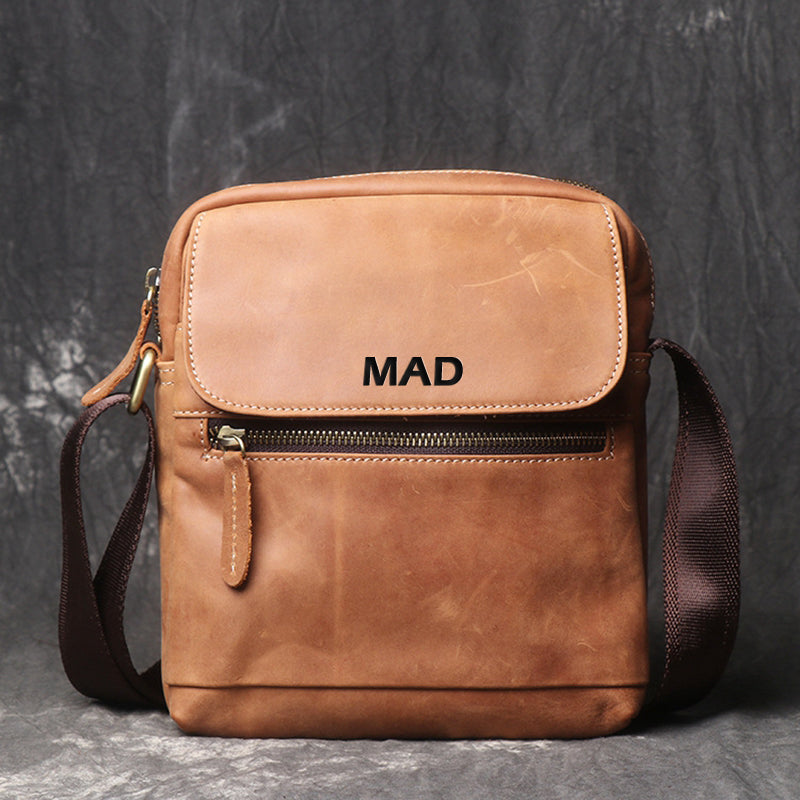 Leather Shoulder Bag For Men,Leather Shoulder Bag Message Bag Casual Cross Body Bag - icambag