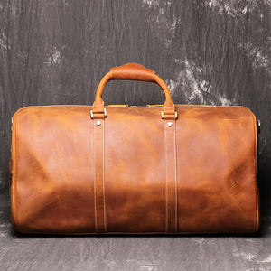 Personalized Groomsmen Gift Duffle Bag Wedding Gift for Him Leather Travel Bag Monogram Available Mens Leather Boyfriend gift Travel bag - icambag