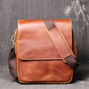 Handmade Leather Shoulder Bagcrazy Horse Leather Cross-Body Bag Retro Fashion Cowhide Ipad Bag Message Bag - icambag