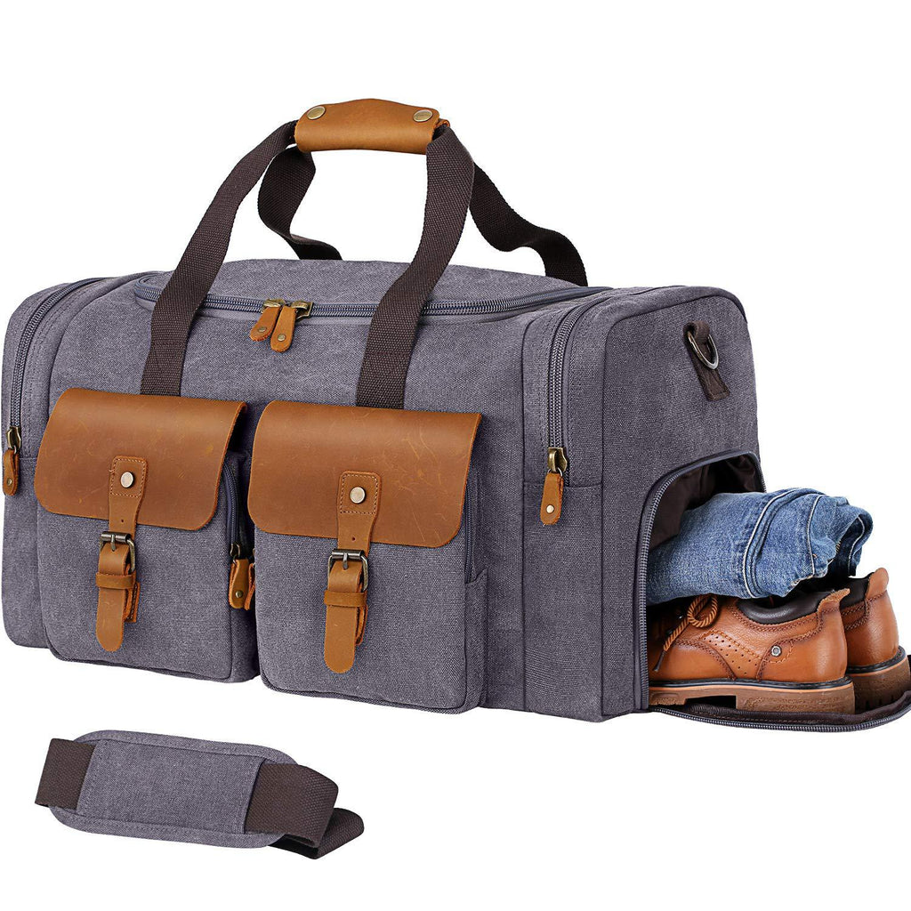 Duffel Bag Weekender Bag for Men and Women Genuine Leather Canvas Travel Overnight Carry on Bag with Shoes Compartment Grey - icambag