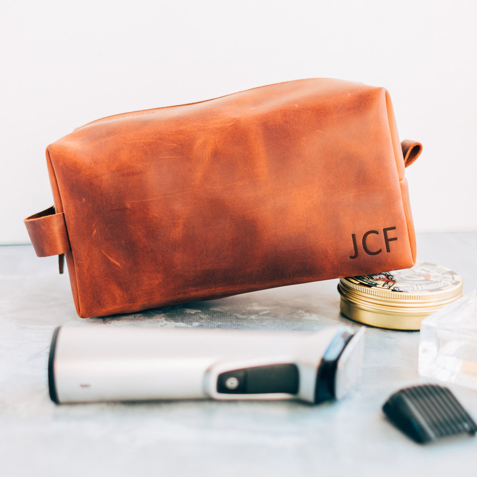 Men Leather Dopp Kit Personalized Gift with Initials Engrave Gift for Husband for Thanksgiving or Birthday Gift for Boyfriend - icambag