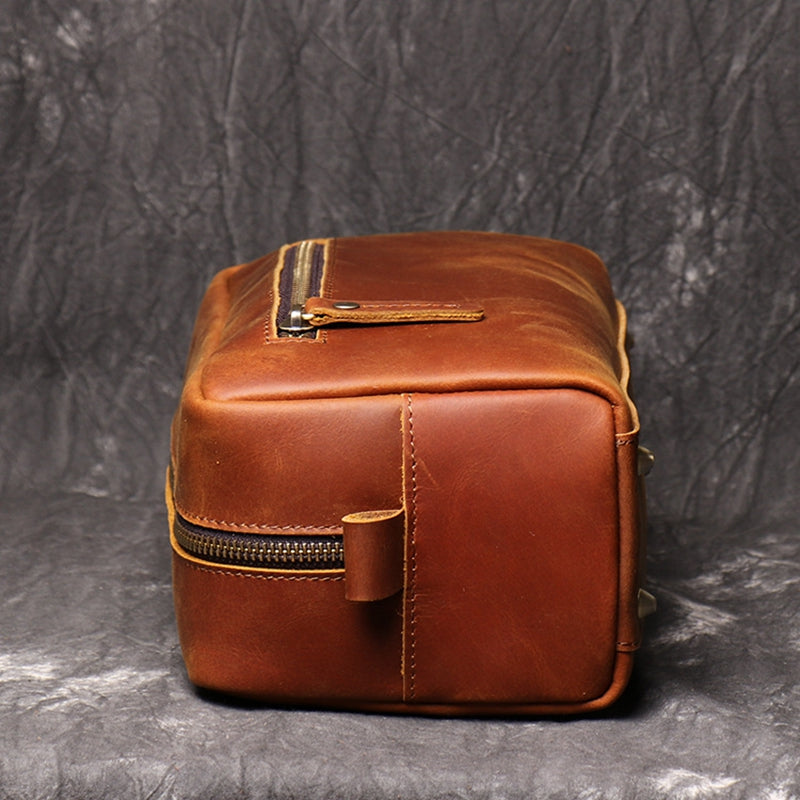 Groomsmen Gift Leather Bag, Dopp Kit Bag Customized Leather Toiletry Bag Monogram Mens Toiletry Bag Wedding for Groom - icambag