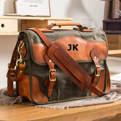 Personalized Vintage Leather Bag Canvas Leather Travel Bag Single Shoulder Bag Messenger Laptop Bag 8932 - icambag