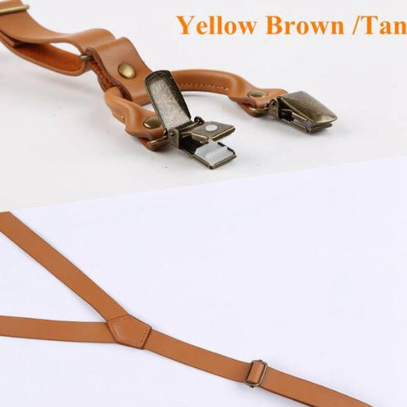 Leather Suspenders, Mens Suspenders, Wedding Suspenders, Teen Suspenders, Suspenders for Men, Light Brown, Dark Brown Suspenders, Gift - icambag