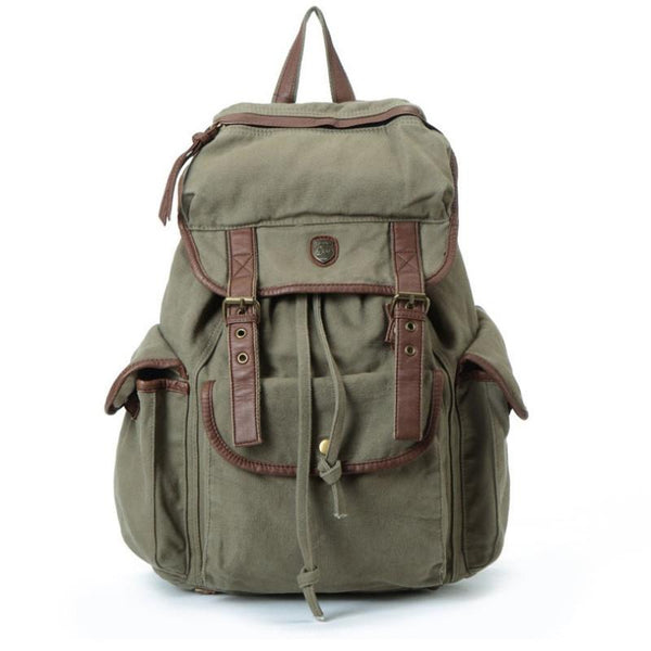 "14"" Laptop Backpack Bag Big Leisure Leather Canvas Backpack Leather School Bag Shoulder IPAD Bag - icambag"