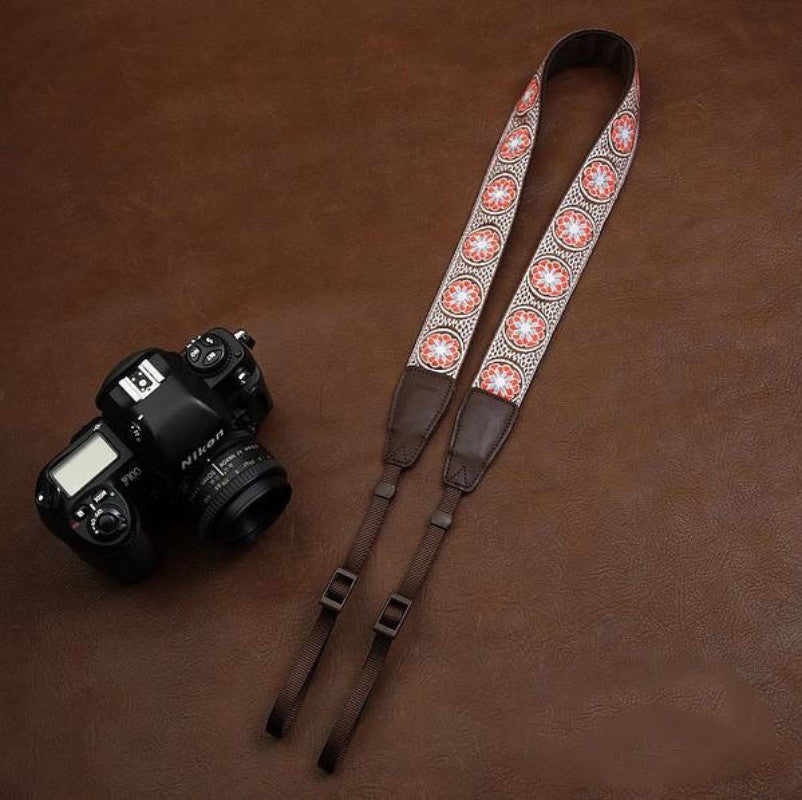 Embroidery Series Flowers Pattern brown Handmade DSLR Leather Camera Strap 7543 - icambag