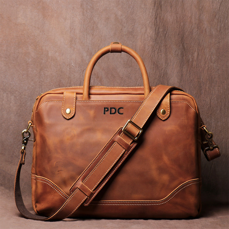 Men's Vintage Cowhide Carrying Briefcase Leather Cross Body Bag Mandmade Crazy Horse Leather File Computer Bag - icambag