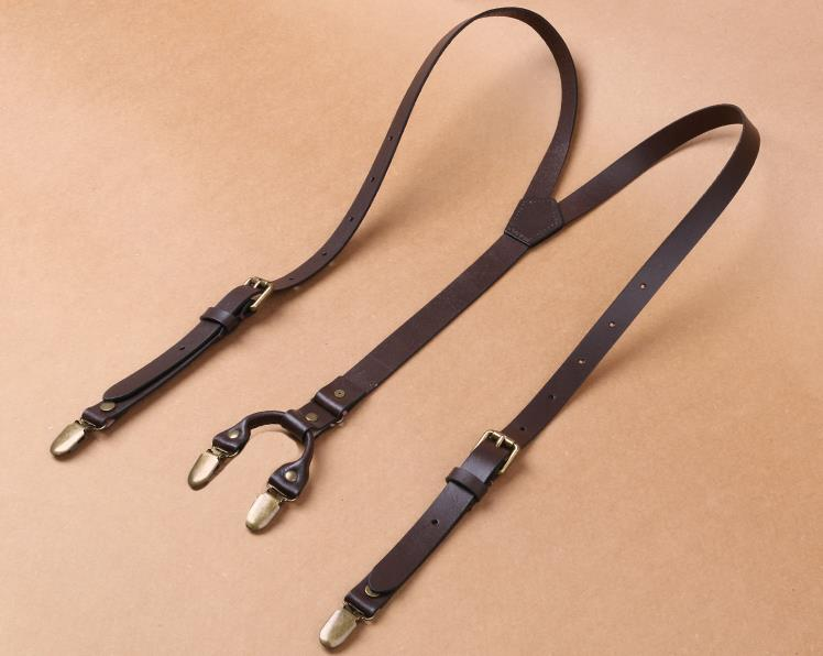 Personalized Groomsman Gifts Handmade Wedding Suspender Mens Suspenders Leather Four Clip - icambag