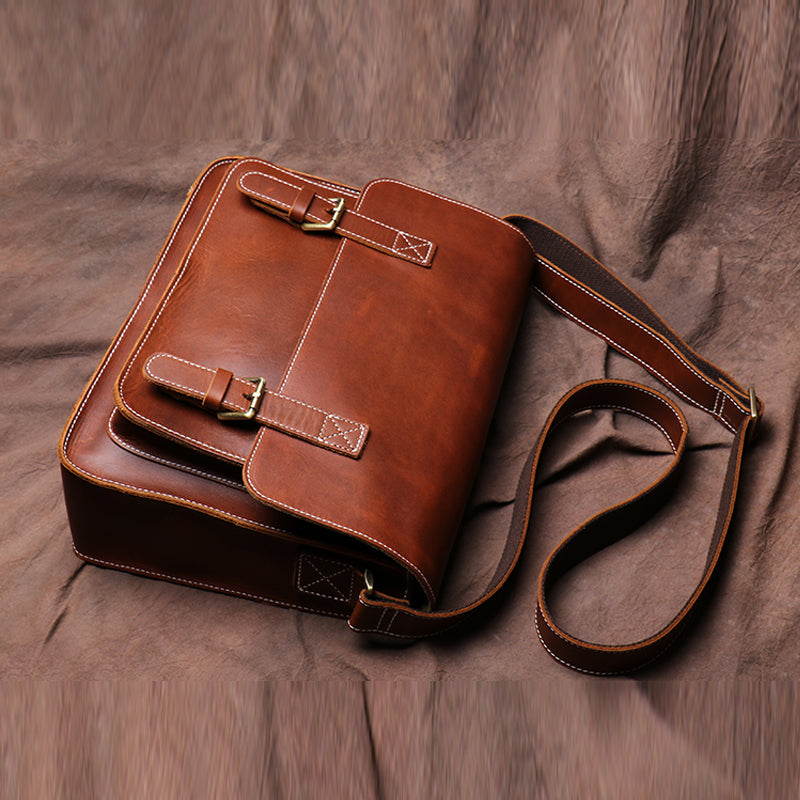 Original First Layer Cowhide Retro Single Shoulder Cross Body Bag Male Handmade Crazy Horse Skin Postman Package Casual Bags - icambag