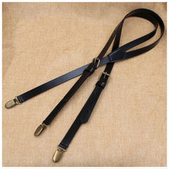 Wedding Groomsmen Leather Suspender, Men's Suspenders in Black Coffee - icambag