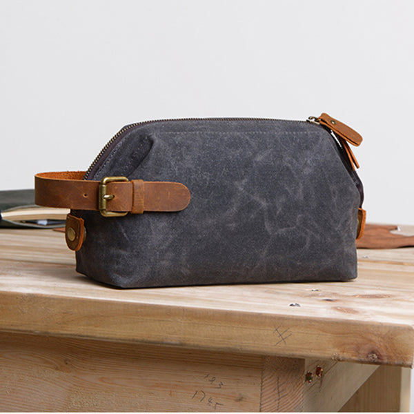 HANDMADE Men's Canvas Toiletry Bag Wedding Leather Clutch Bags Men's Groomsman's Gifts in Black - icambag