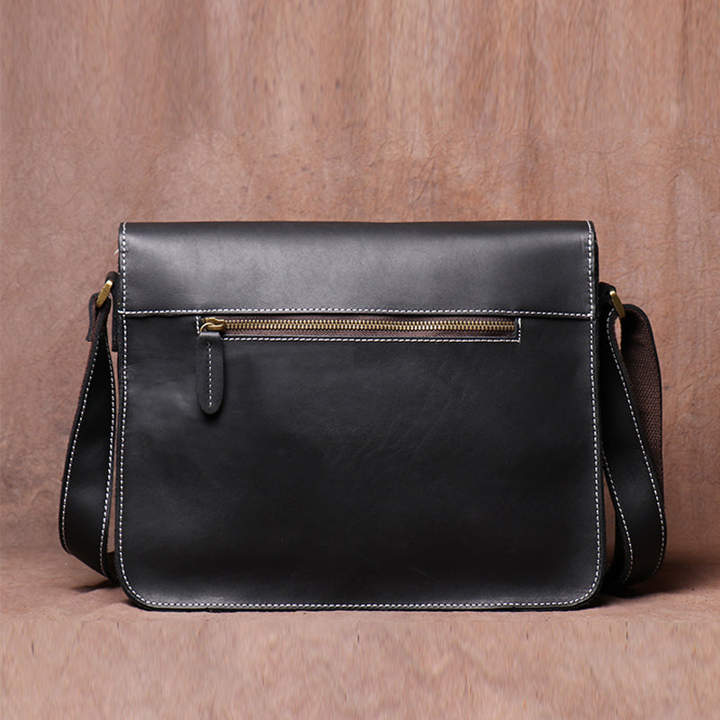 Handmade First Layer Cowhide Male Bag Retro Casual Crazy Horse Leather One Shoulder Slung Messenger Bag - icambag