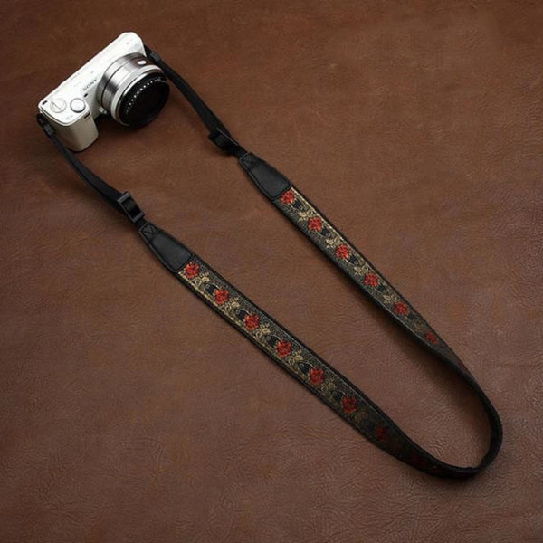 Embroidery Series brown Handmade DSLR Leather Camera Strap 7588 - icambag