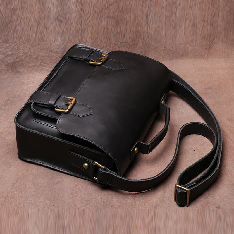 Handmade Crazy Horse Leather Retro Postman Bag Carrying Bag Cowhide Cross Body Bag Message Bag - icambag