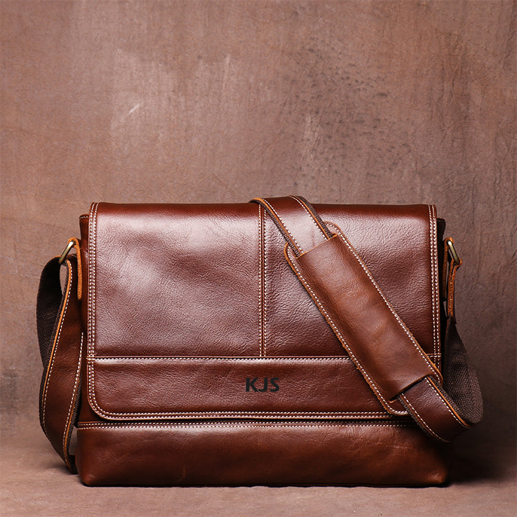 Men's Retro Casual Handmade Leather Single Shoulder Bag Head Layer Cowhide Cross Body Bag Postman Bag - icambag