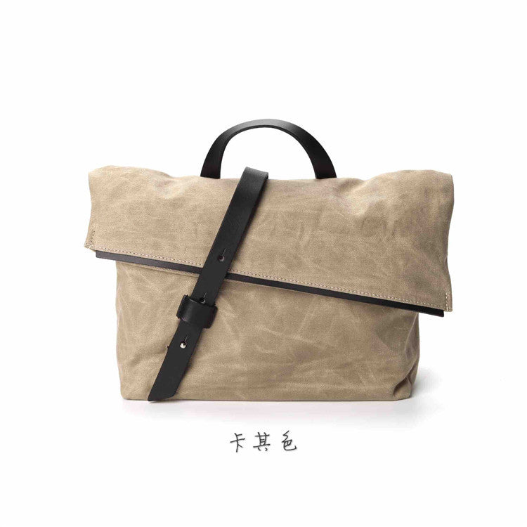 Small Italy Plant Tanned Leather Swedish Waterproof Wax Cloth Fashion DSLR  Shoulder Canvas Bag CB014 - icambag