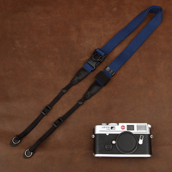 Ninja Blue Cotton DSLR Handmade Leather Camera Strap 1567 - icambag