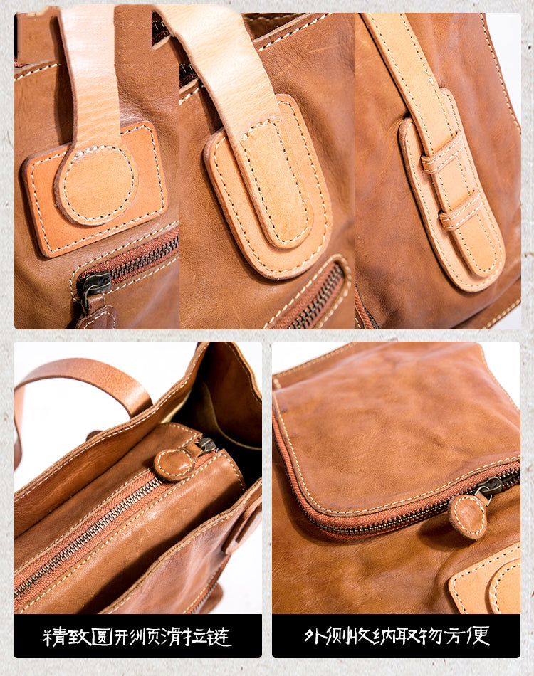 Handmade Vintage Top Grain Cow Leather Tote Bag For Women - icambag