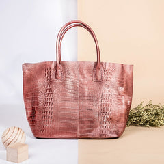 Handmade Genuine Leather Crocodile Style Women's Fashion Handbags Purse For Women Shoulder Bag - icambag