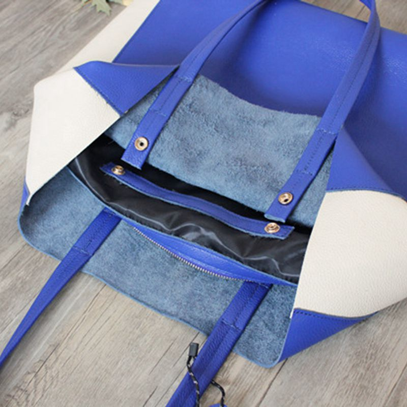 Handmade Full Grain Leather Bag Color Block Tote Bag Shoulder Bag Handbag For Women 7144 - icambag