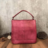 Red Handmade Full Grain Leather Handbags Purse For Women Shoulder Bag Tote Bag Messenger Bag Small Satchel - icambag