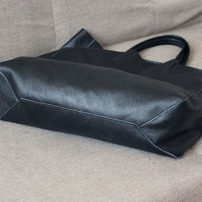 Handmade Full Grain Leather Bag Black Tote Bag Shoulder Bag Handbag For Women 7150 - icambag