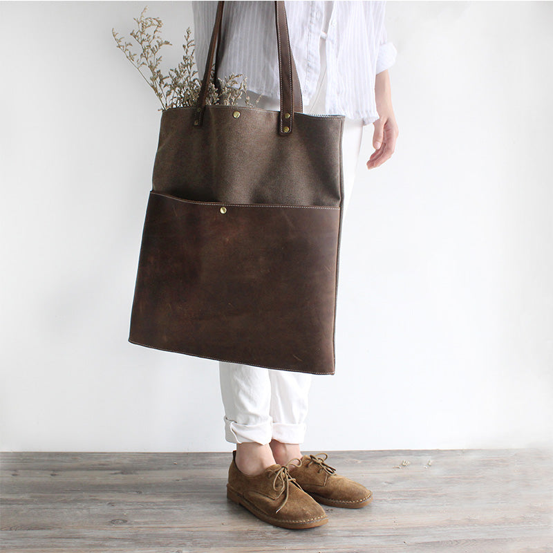 361788fc4e90 Handmade Waxed Canvas Bag Printting Handcrafted Women Totes Bag ...