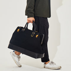 Canvas With Leather Travel Bag, Waterproof Men Handbag, Casual Duffle Bag BF086 - icambag