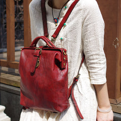 Vintage Women Dual-use Backpack, Handmade Crossbody Bag, Shoulder Bag BF056