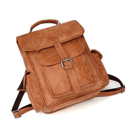 Men's Casual Backpack Leather Outdoor Bag Retro Travel Bag B11067 - icambag