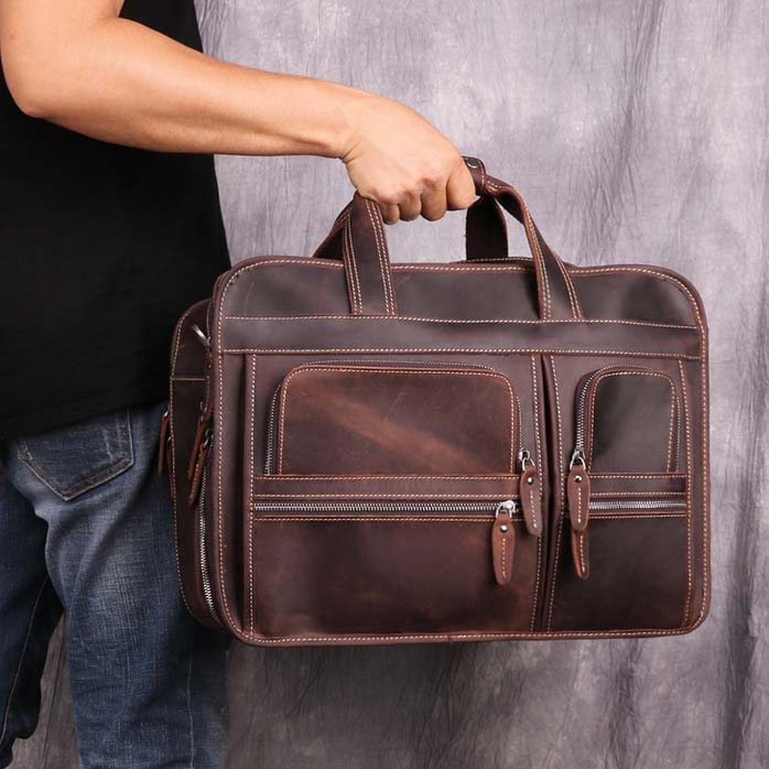 Leather Business Bag Retro Shoulder Bag High-capacity Handbags For Men B11068 - icambag