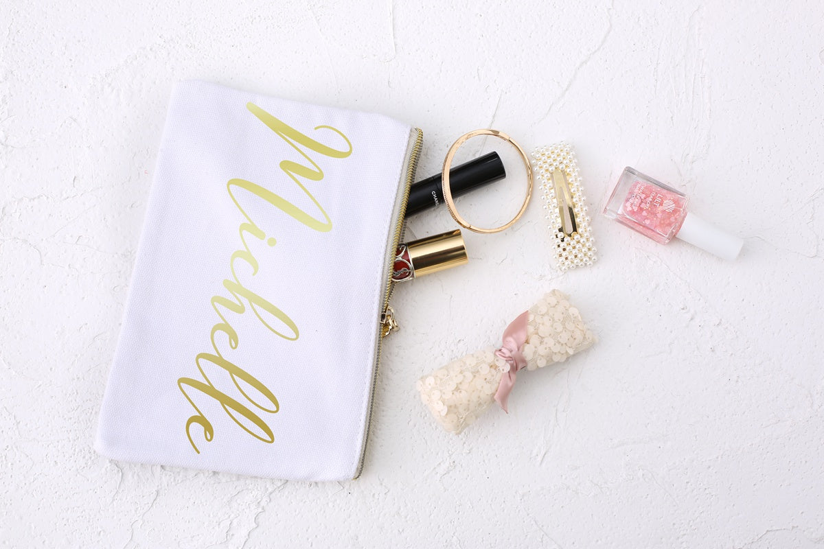 Bridesmaid Gift,Personalized Makeup Bag,Wedding Party Gift for Bridesmaids, Bridesmaid Proposal, Cosmetic Bag, Bachelorette Party Favor - icambag
