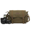 Vintage Fashionable Canon Nikon Canvas Camera Bag Casual One shoulder SLR Camera Bag F1001 Green - icambag