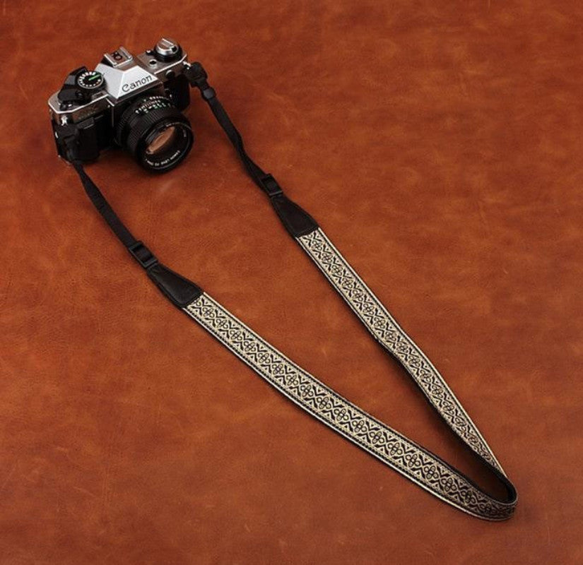 White DSLR Embroidered Style Strap Leather Camera Strap 8479 - icambag