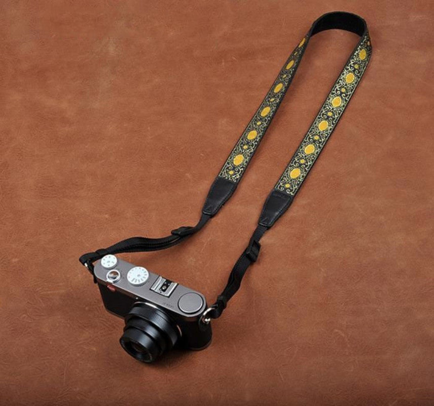 Embroidery Style Yellow Strap Sony Nikon Canon Handmade Leather Camera Strap 8406 - icambag