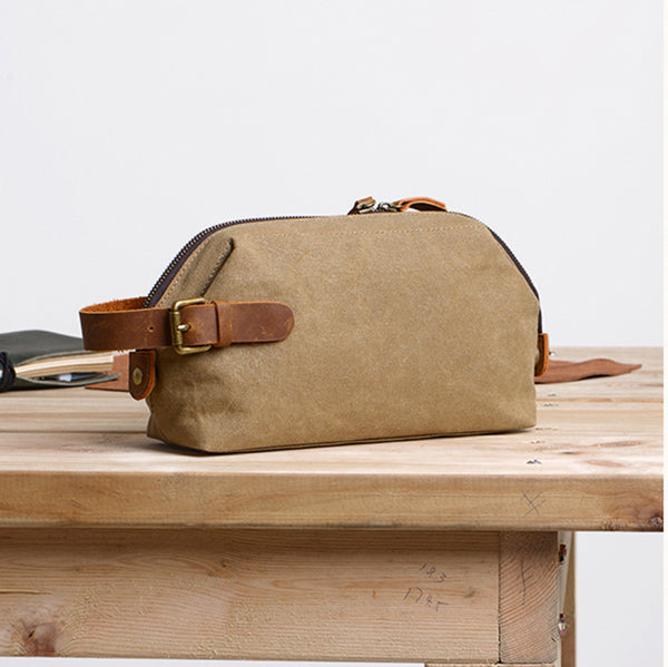 HANDMADE Men's Canvas Toiletry Bag Wedding Leather Clutch Bags Men's Groomsman's Gifts in Khaki - icambag
