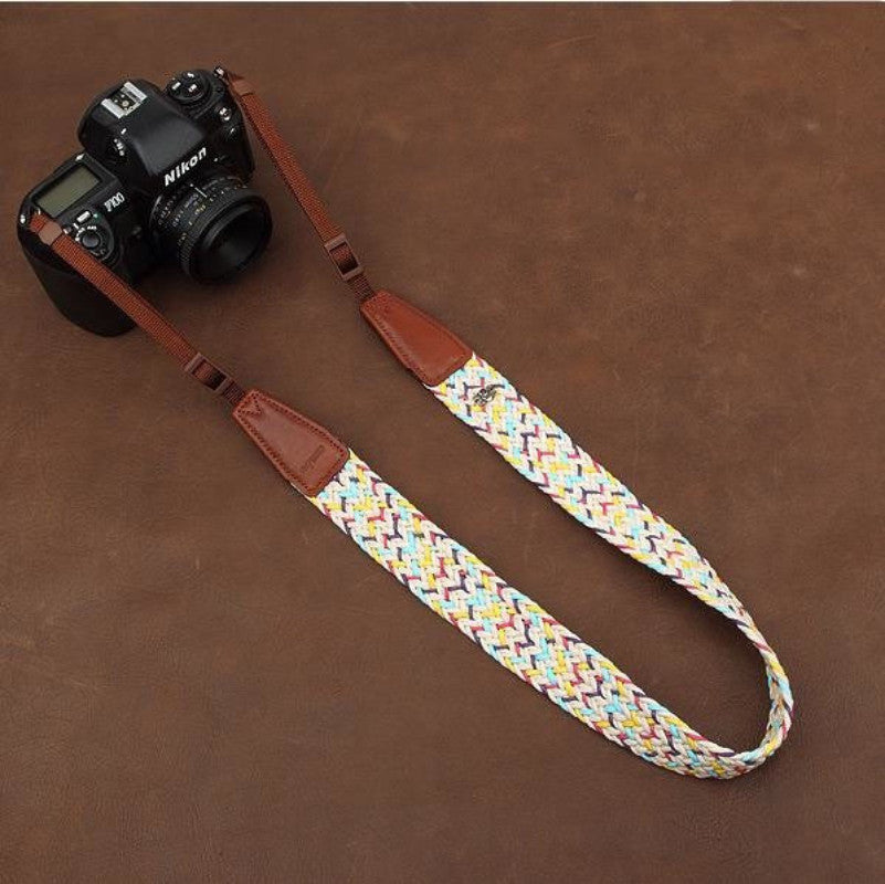 Weaving Style DSLR White  Handmade Leather Camera Strap 8784 - icambag